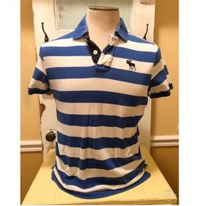 Abercrombie and Fitch Blue/White Striped Polo